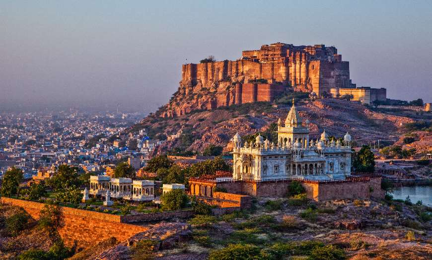 Towering Mehrangarh Fort which stands high above the city of Jodhpur in India