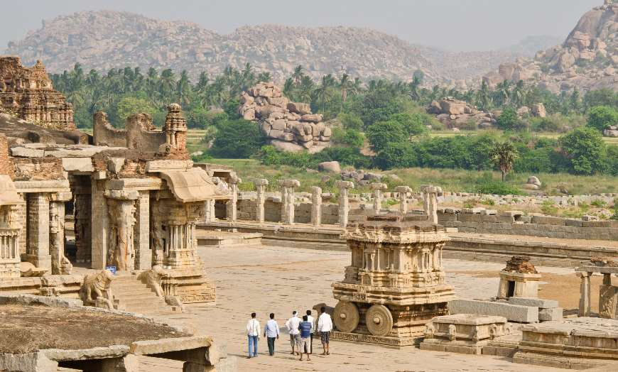 Panoramic view of the remains of Hampi in India