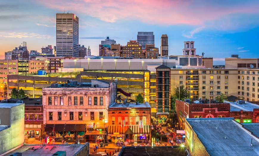Memphis downtown skyline lights Tennessee USA