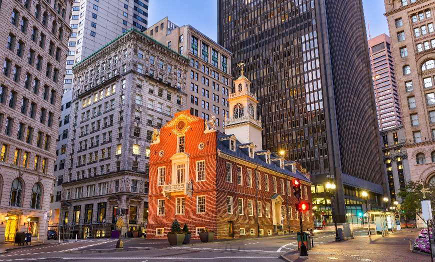 Boston old state house Massachusetts New England USA