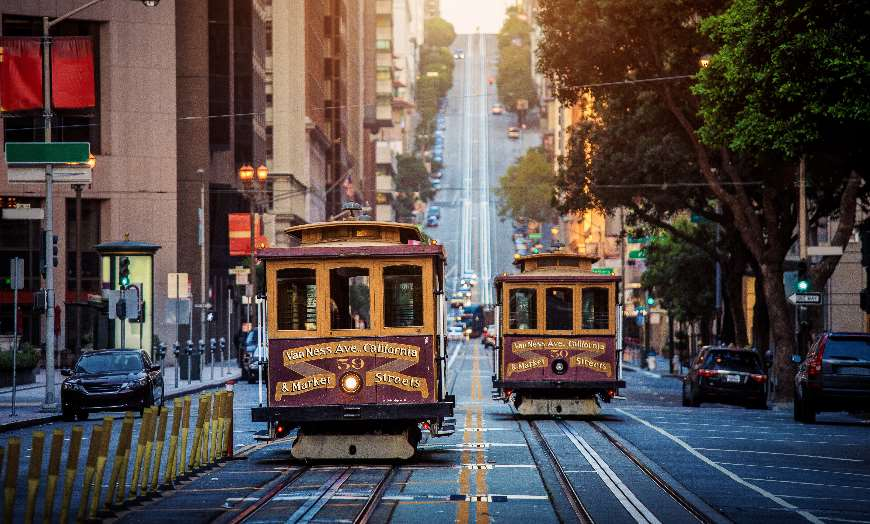 San Francisco cable car street California USA