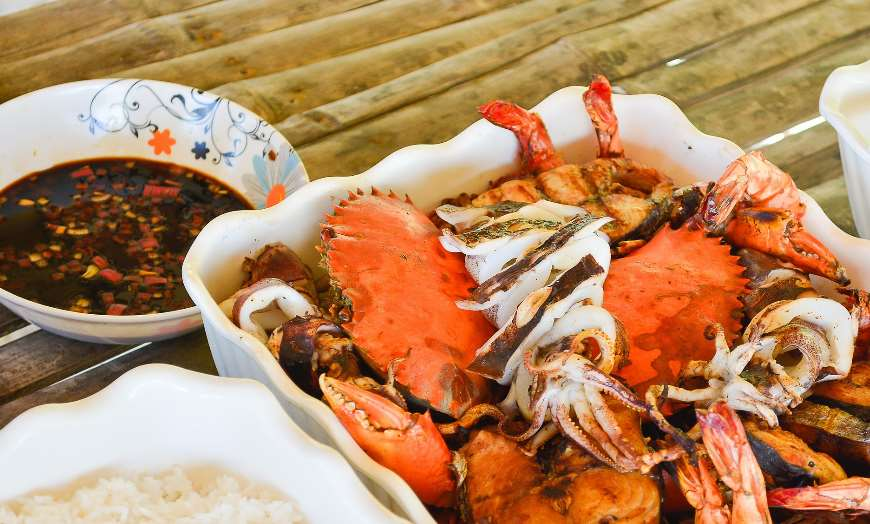 Crab Seafood Prawn Lobster Rice Sri Lanka Cuisine Food Beach