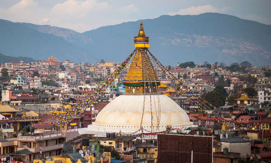 Panoramic view of the monumental Boudhanath Stupa that towers over the Nepalese capital, Kathmandu