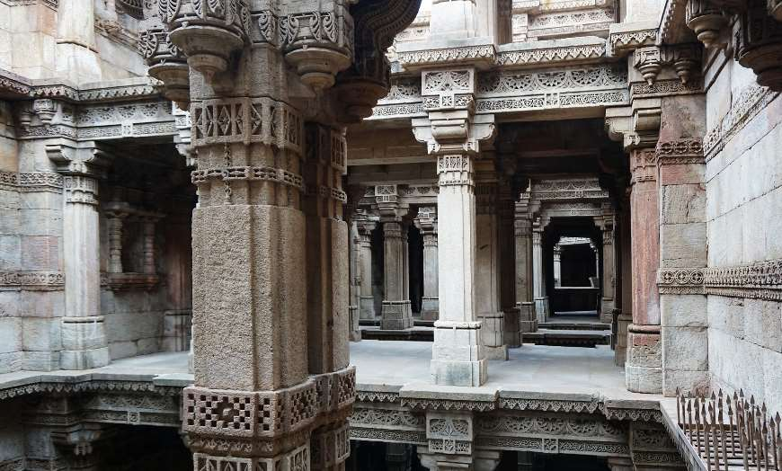 Intricately carved Adalaj Step Well in Ahmedabad, India