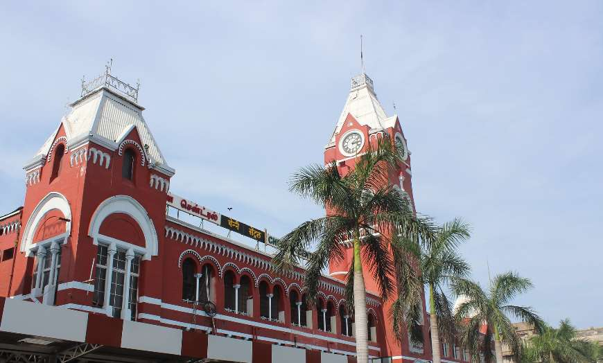 Red fronted Victorian architecture of Chennai Station in India