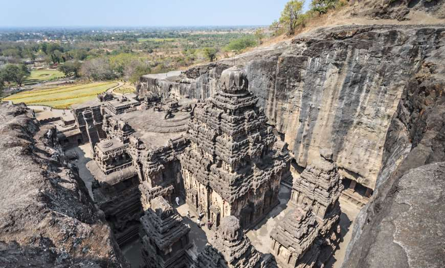 Ellora Cave temple carved out of solid rock in India