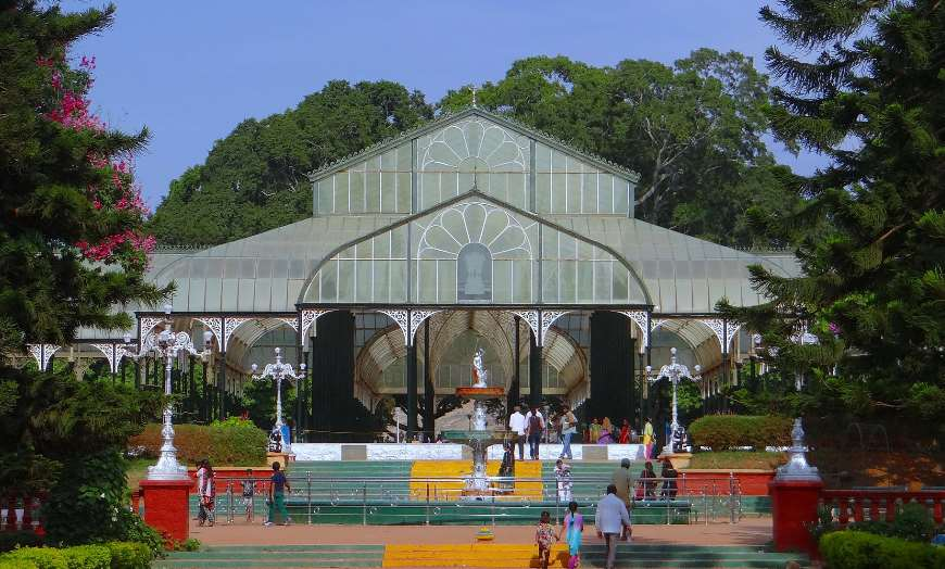 Historic greenhouse in a botanical garden in Bangalore, India