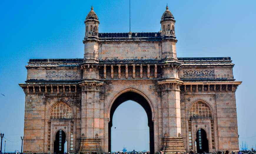 White marble edifice of the Gateway of India in Mumbai