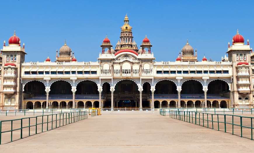 Domed Mysore Palace in Mysore, southern India