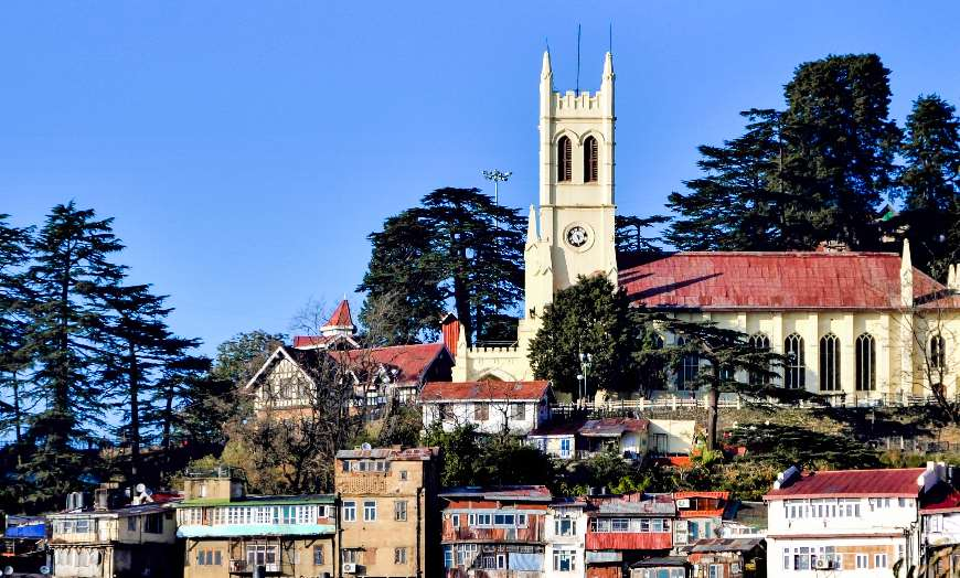 View of the old British Raj homes and Christ Church in Shimla