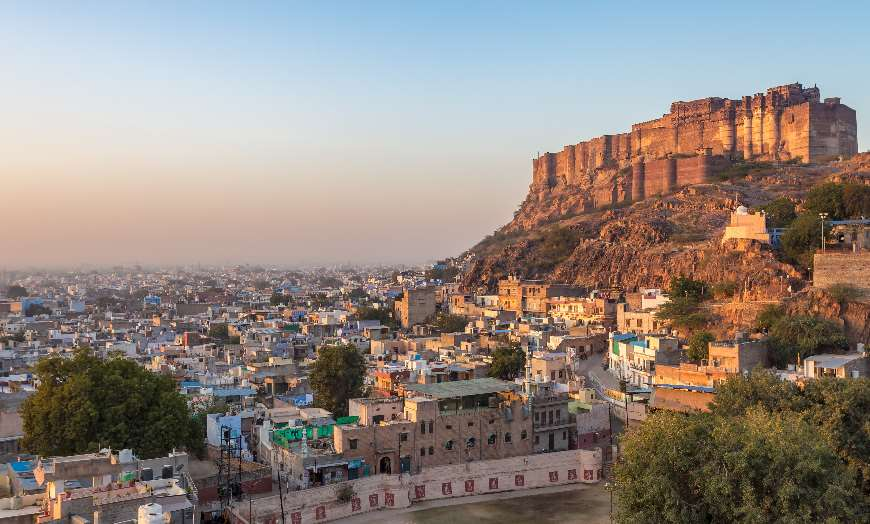 Fort overlooking the blue-washed homes of Jodhpur in Rajasthan, India