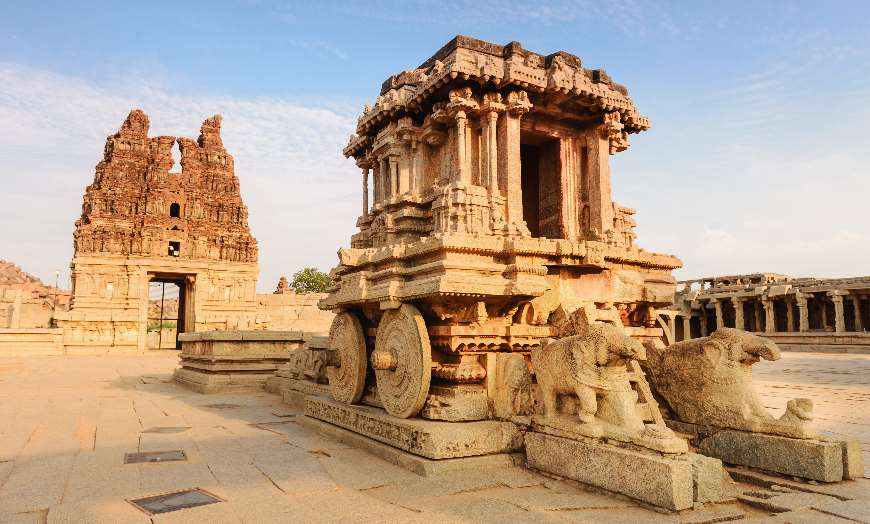 Ancient stone chariot in the Vittala Temple complex in Hampi, India