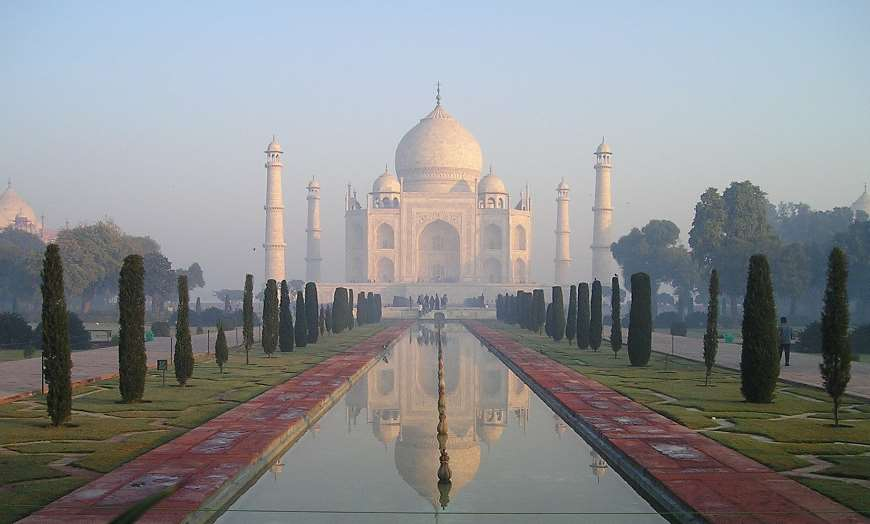 Gardens and ponds overlooked by the Taj Mahal in Agra, India