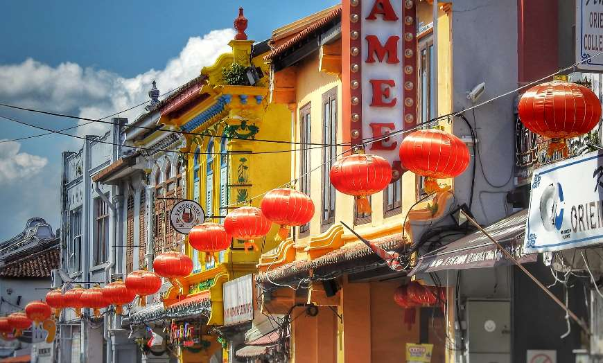 Colourful historic homes and red paper lanterns of Chinatown in Malacca, Malaysia
