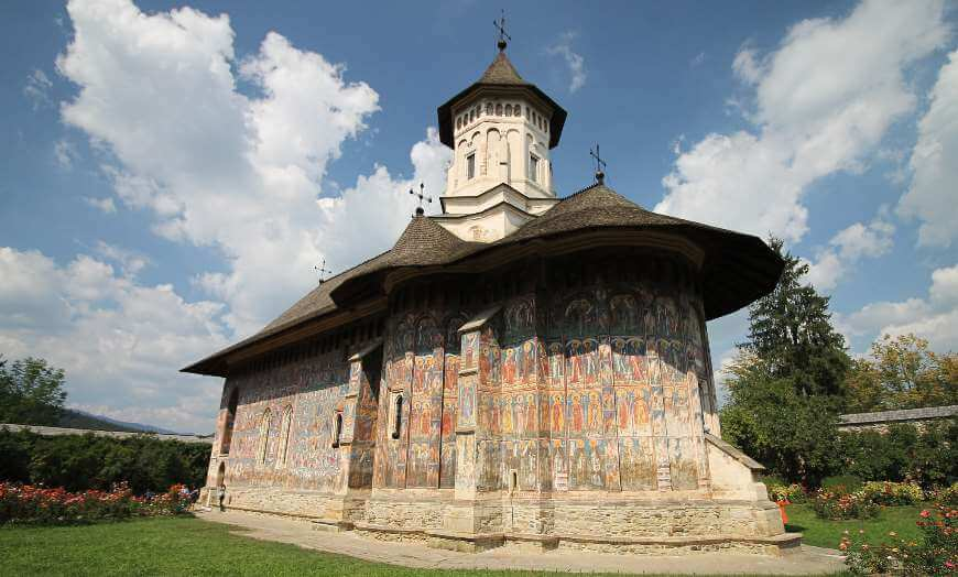 Elegant murals of the Moldovita Monastery in Romania