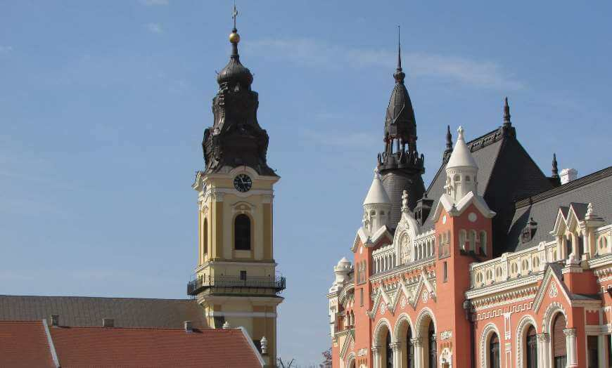 Grand historic architecture in Oradea, Romania
