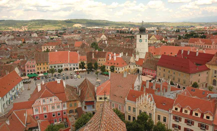 Aerial view of the old town of Sibiu in Romania