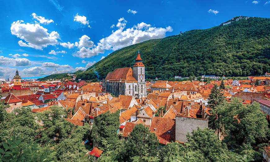 View of the Black Cathedral in Brasov, Romania