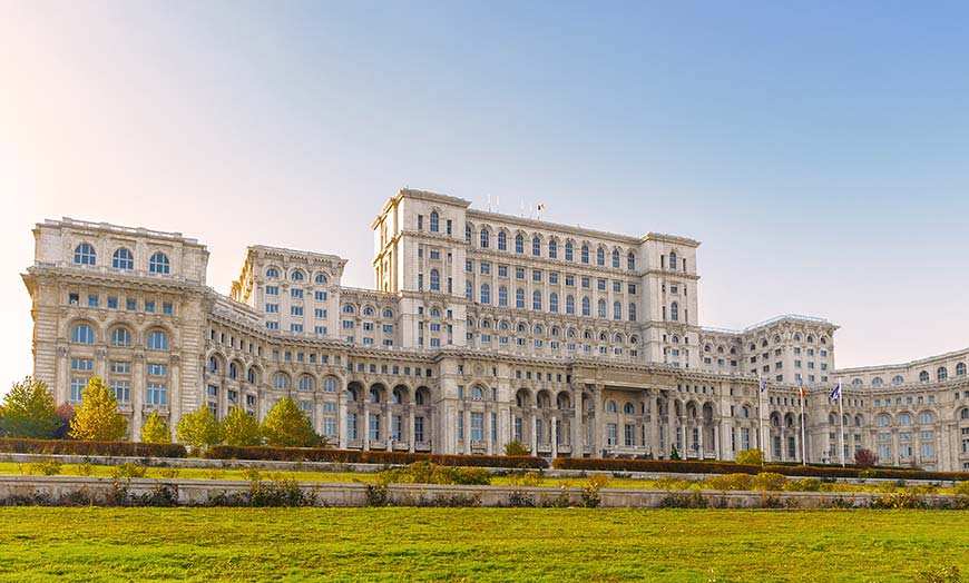 Facade of the Palace of Parliament in Bucharest, Romania