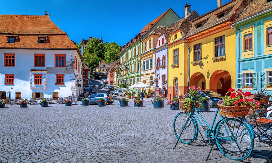 Colourful buildings in the Transylvanian town of Sighisoara in Romania