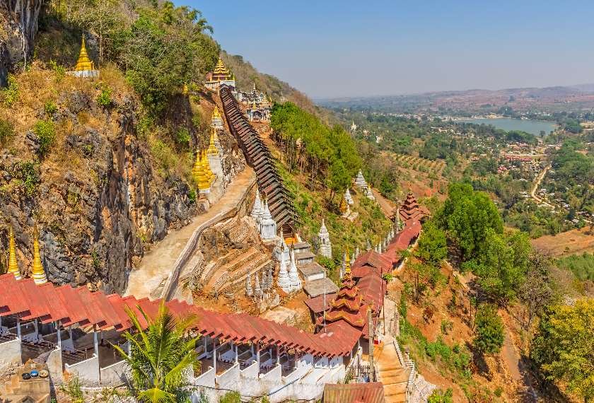 View of the stupas and temples of the Pindaya Caves in Shan State Burma