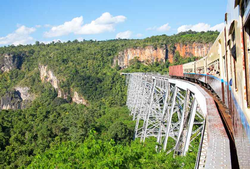 Train Goteik Viaduct Myanmar Burma
