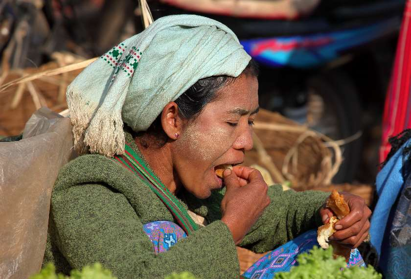 Woman at a weekly market in Kalaw, Burma