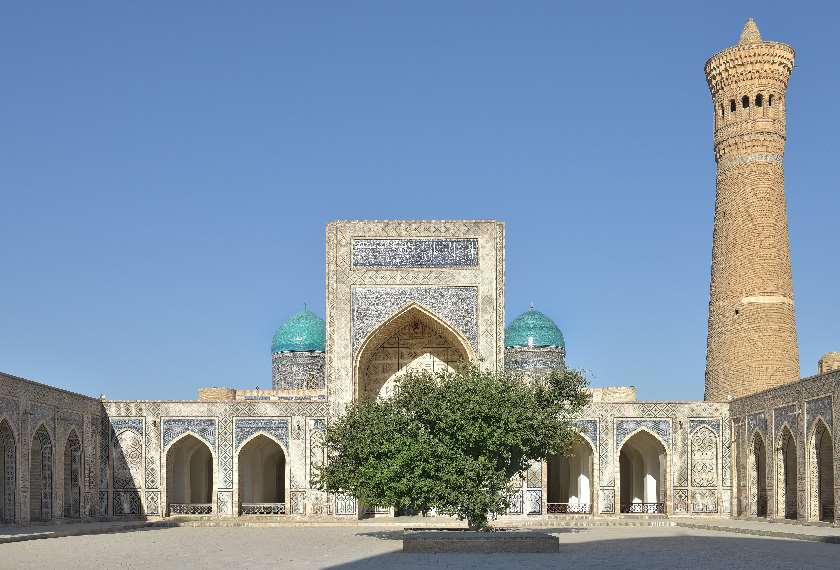 The decorative Poi Kalon Kalyan Minaret in Bukhara, Uzbekistan