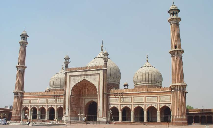 Dome and minarets of the Jama Masjid Mosque in Old Delhi