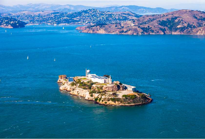 The island of Alcatraz in the San Francisco Bay