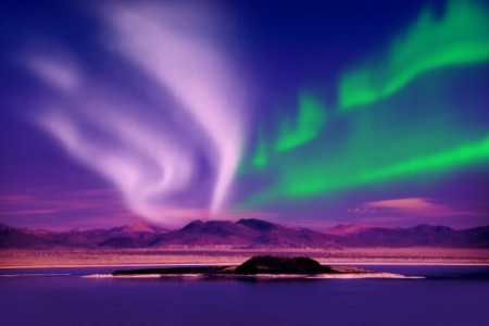 Brightly coloured Northern Lights in Norway