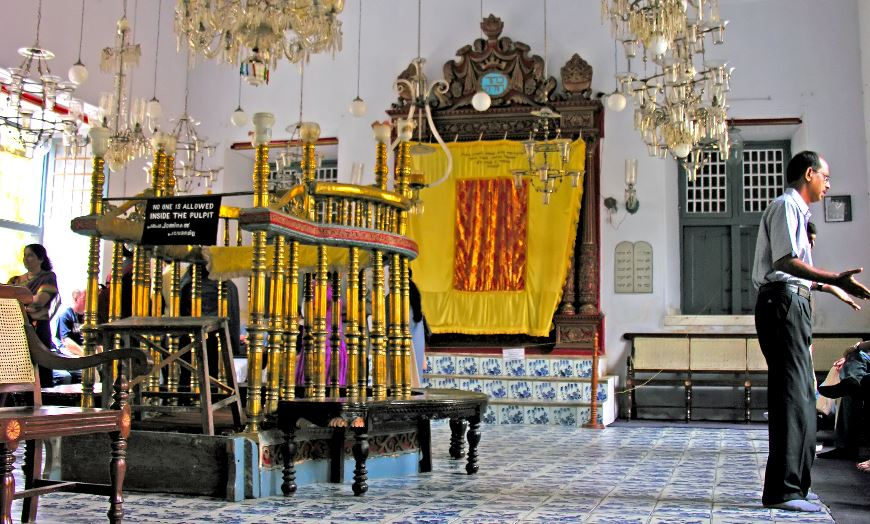 Interior of the Paradesi Synagogue in historic Kochi, Kerala
