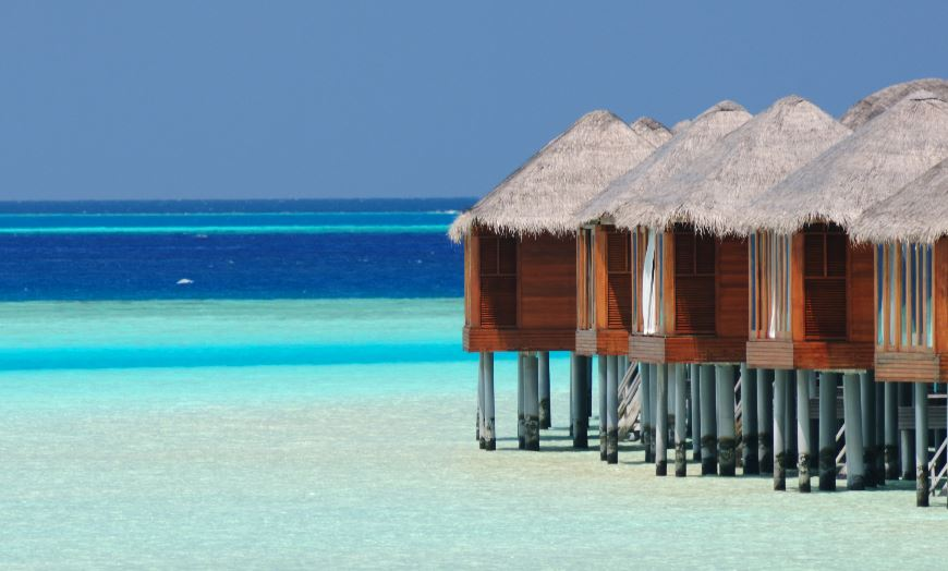 Luxury accommodation overlooking turquoise seas at a resort in the Maldives