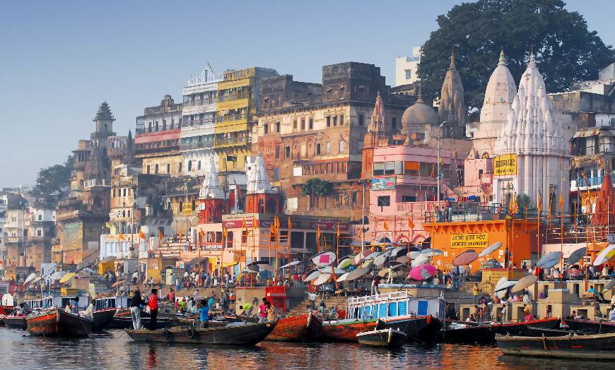 Bustling and colourful ghats in the pilgrimage city of Varanasi, northern India