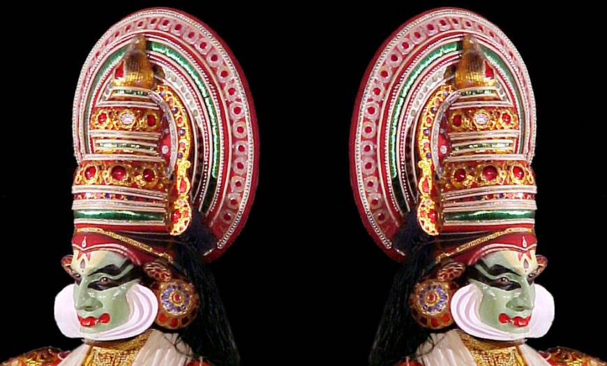Kathakali performers in traditional costumes in Kerala, India