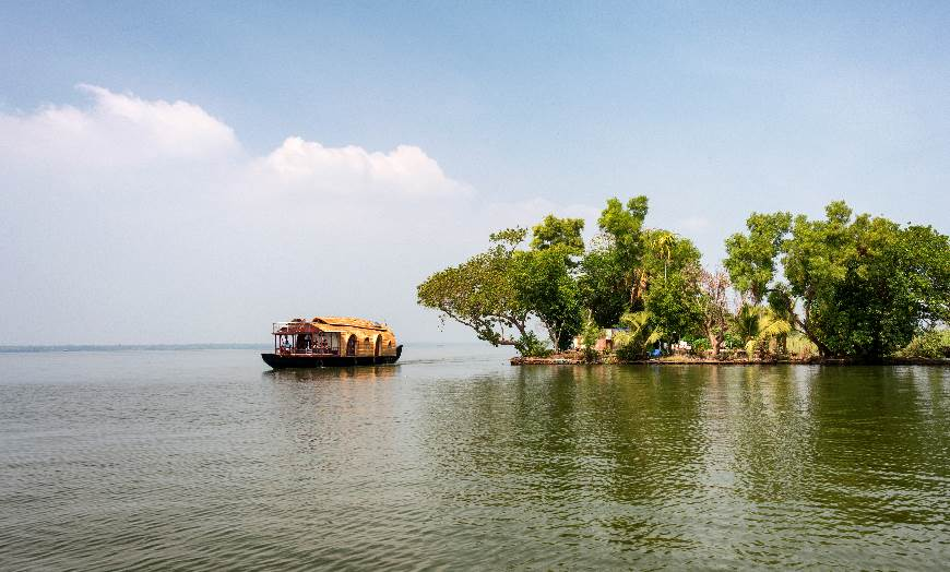 Traditional houseboat sailing on the Keralan Backwaters in India