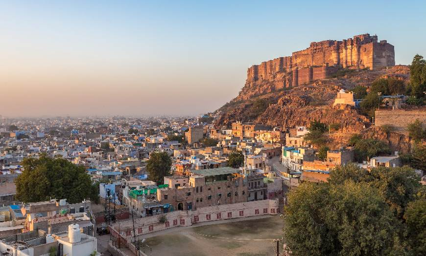View of Mehrangarh Fort in the city of Jodhpur in Rajasthan, India