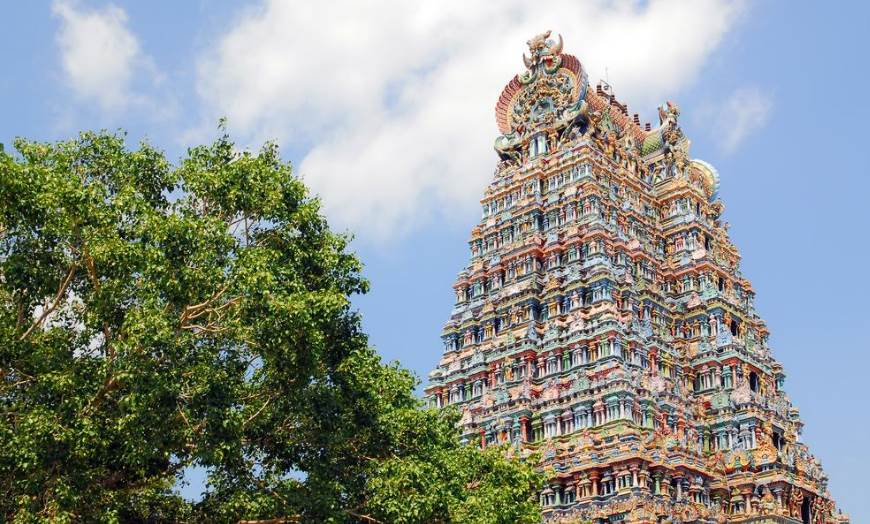 Intricate designs of a multi-coloured gopuram at the Sri Meenakshi Temple in Madurai, Tamil Nadu, India