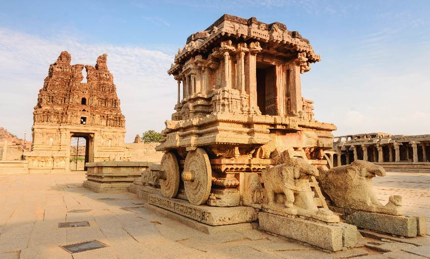 Ancient remains of the Vittala Temple at Hampi in Karnataka, India