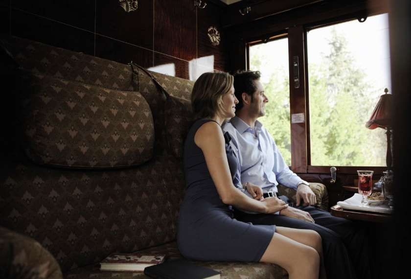Couple in their cabin on the Venice Simplon Orient Express