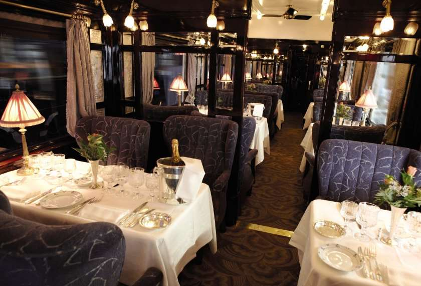 Restaurant car on the Venice Simplon Orient Express