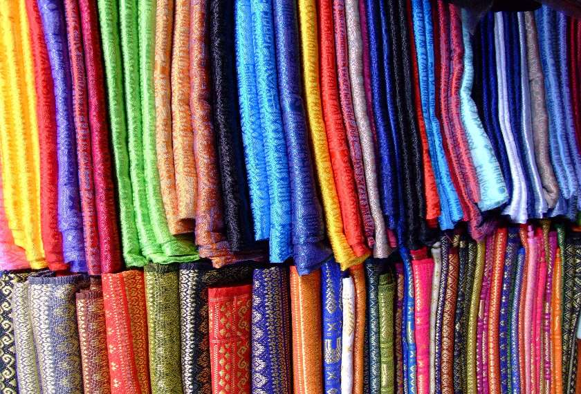Traditional silks in a Thai market