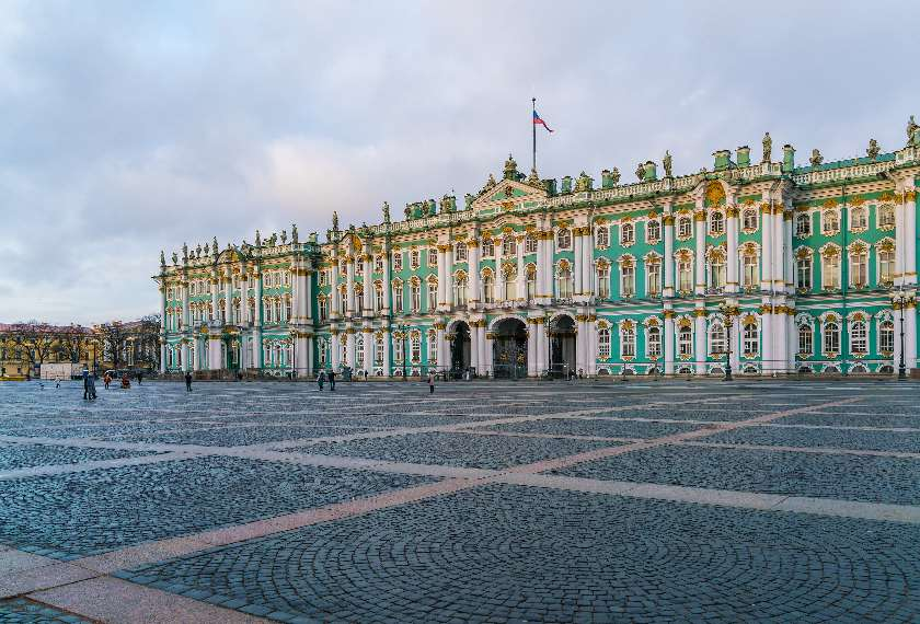 View of the Winter Palace Hermitage Museum in St Petersburg, Russia