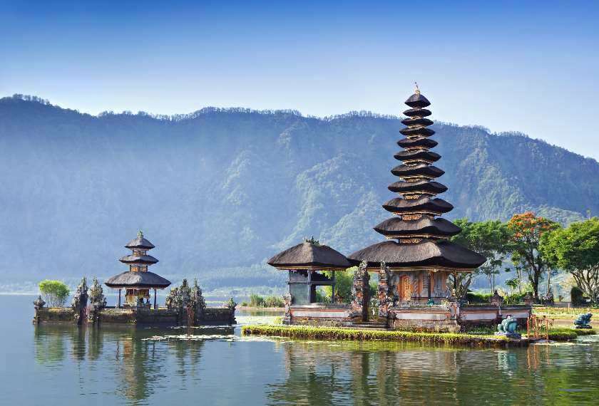Ulun Danu Temple beside Beratan Lake in Bali