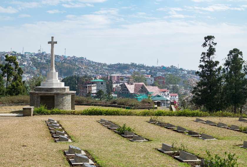 View of Kohima War Cemetery in Nagaland, India