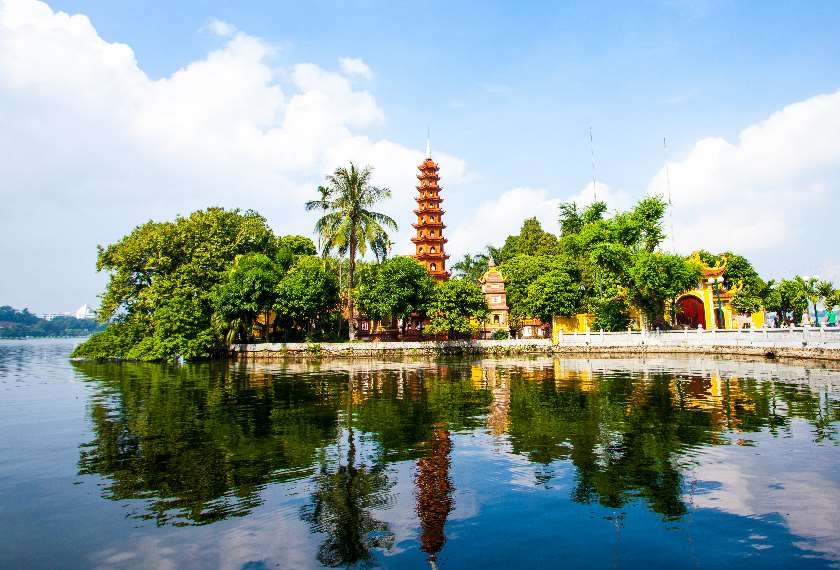 Tiered Tran Quoc Pagoda on an island in West Lake, Hanoi
