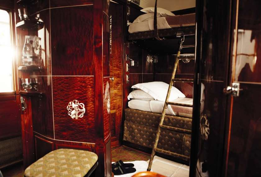 Cabin made ready for bed on the Venice Simplon Orient Express