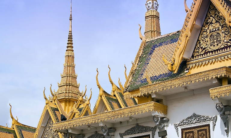 Highly decorative golden architecture of a temple in Phnom Penh
