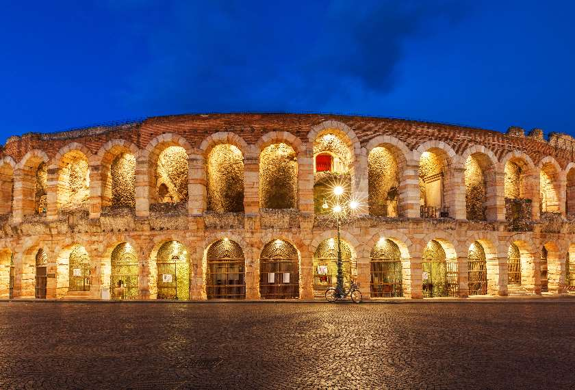 Exterior of the Arena di Verona at night