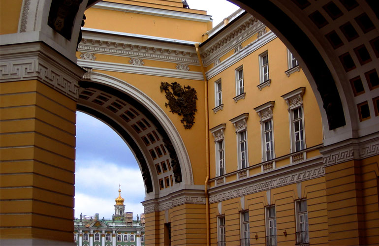 Entrance to the courtyard of the Hermitage Museum in St Petersburg